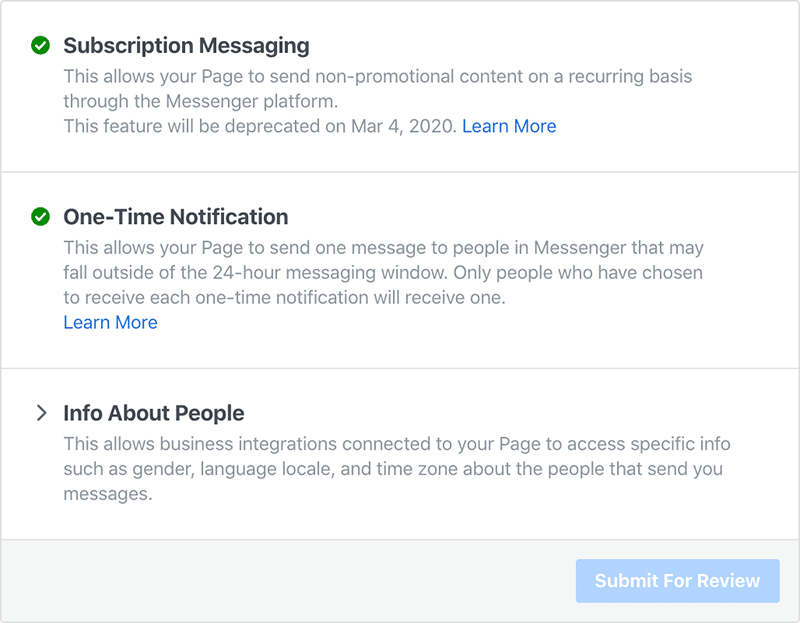 One Time Notification Request via your Page Settings