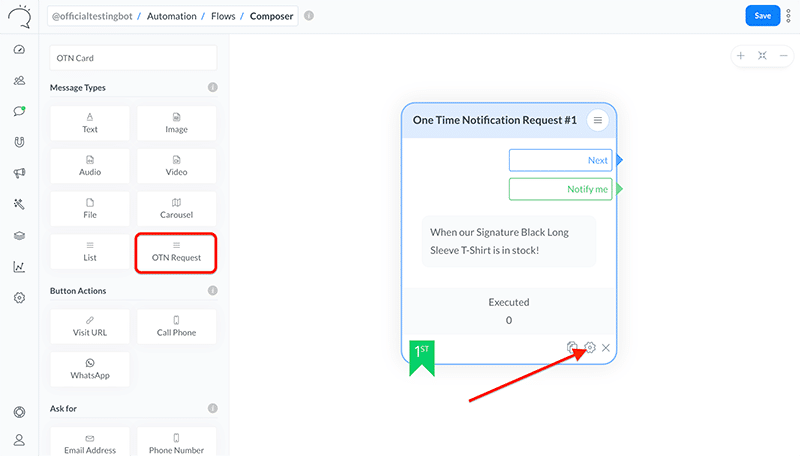 One Time Notification Request Card on the Flow Composer