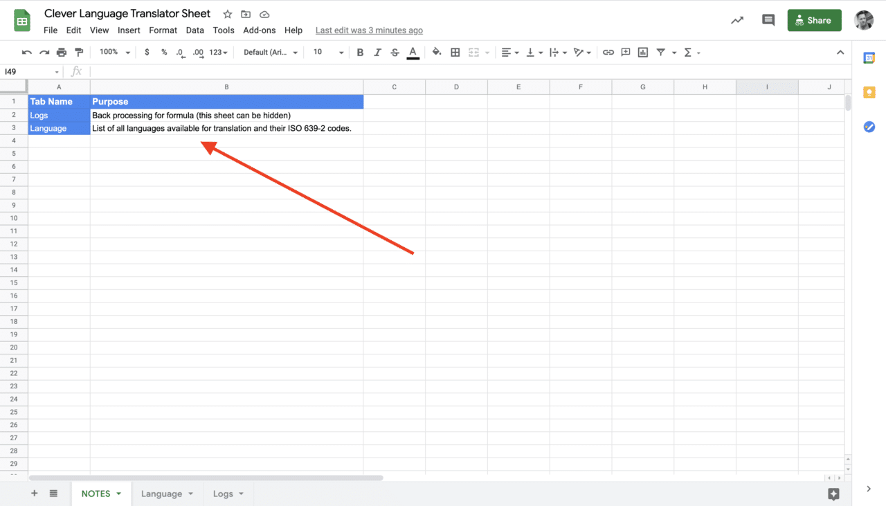 The NOTES Sheet on Google Sheets