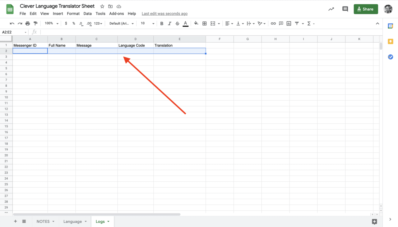 The Logs Sheet on Google Sheets